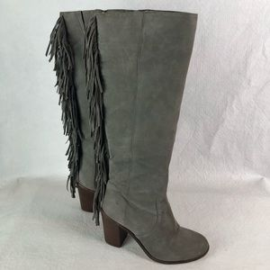 Gianni Bini Gray Suede Tall Boots with Fringe Sz 7